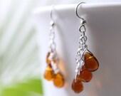 Teardrop Chandelier Earrings with Golden Amber Glass Teardrops on Hypo-Allergenic, Nickel-Free Ear-Wires