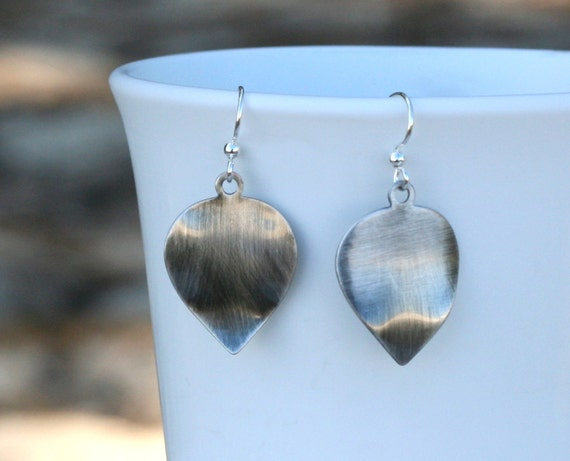 Silver Leaf Earrings, Antiqued Silver-Plated Leaves on Hypo-Allergenic, Nickel-Free Hook Ear-Wires