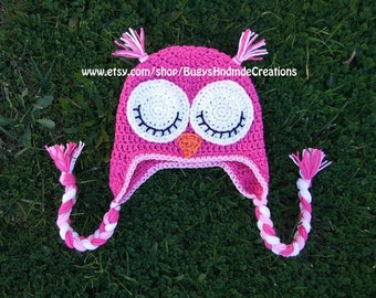 Adorable Girls Sleepy Owl Hat with Earflaps Pink, Light Pink and White