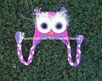Crochet Owl Hat with Earflaps Pink, Purple and white