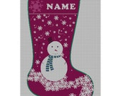 Personalized Needlepoint Snowman Christmas Stocking Canvas