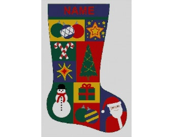 Personalized Needlepoint Christmas Stocking Canvas