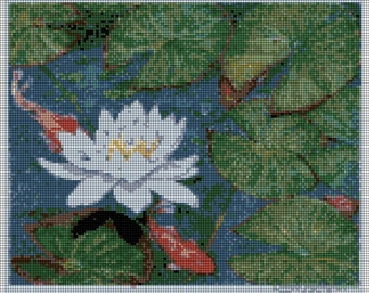 Water Lily in Pond Needlepoint Canvas