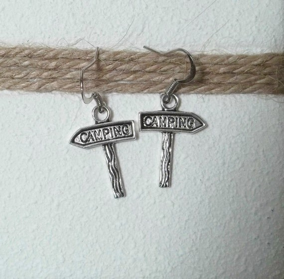 Pewter Camping Sign Earrings - Free Shipping