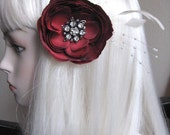 Handmade Red Ranunculus Bridal Hair Clip- OOAK