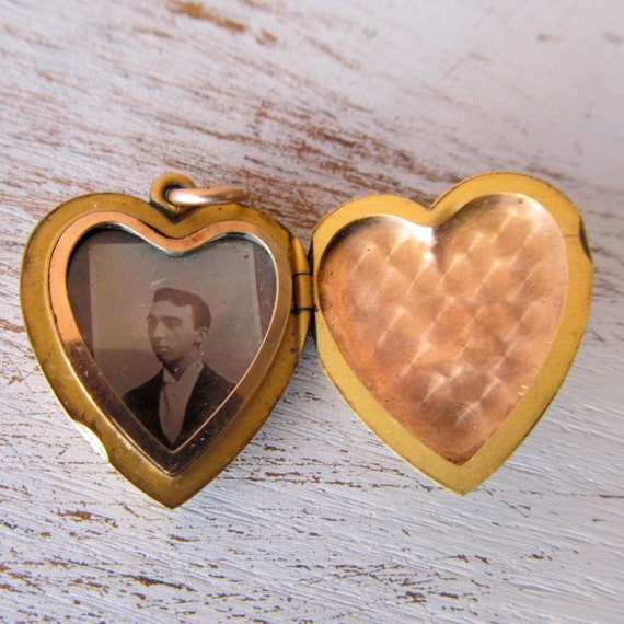 I Don't Know The Chap But I'd Keep Him Close To My Heart Antique Heart Locket With Vintage Photo