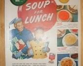 Vintage 1950 Campbell's Soup Holiday Advertisement Paper Ephemera Wall Art Christmas Nostalgia Ad Print Man Cave Home Decor