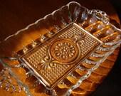 Sale - Vintage Glass Hobnail  Candy Trinket Soap Dish