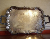 Vintage Silver Plate Large Tray for Serving, Bar, Buffet  or Display