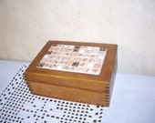 Vintage Wood Box, Dovetailed and Tiled Top, Handmade Box