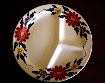 Vintage Ironstone Fondue Plates, Grille Plate, Painted Flowers, Child Plate