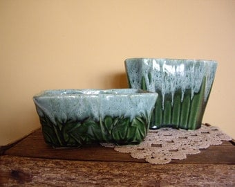 Sale - Vintage Mid Century Green Drip Platers