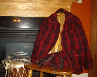 Vintage Woolrich Coat and Pants // Hunting // Red and Black