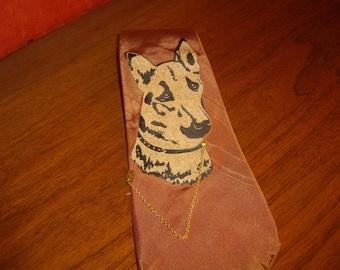 Vintage Retro Tie with German Shepard, Mens Tie, Cool Tie