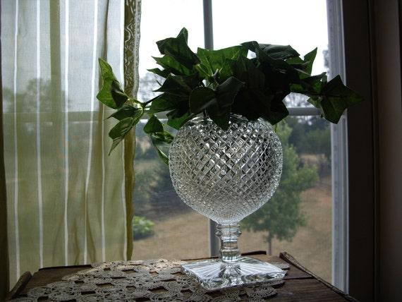 Sale - Vintage Westmoreland crystal hobnail ivy vase pedestal clear glass footed