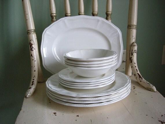 Vintage Staffordshire Ironstone Plates, Bowls and Platter