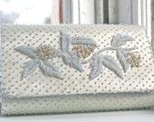 Vintage silver beaded clutch purse