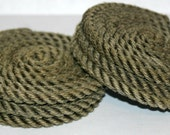 Set of 8 Rope Coasters Nautical Decor Khaki Brown Natural coiled rope coasters Handmade