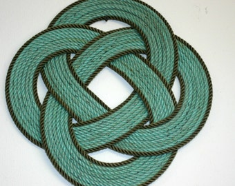 "16 "" Round Rope Large Table Center Piece Trivet Green & Gray Line RECYCLED ITEM"