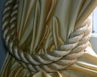 2 Chunky Rope Curtain Tie Backs Large Diameter Beige Tan Rope Nautical Window Treatment