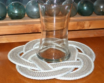 "Nautical Rope Placemat or Table Centerpiece Trivet Round Design 13"" diameter 100% Eco Friendly"
