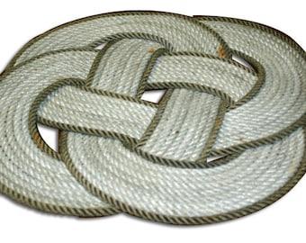 "Fun 18"" Round Rope Mat Throw Rug Silver & Dark Gray Nautical Beach Decor"