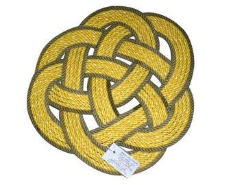 Yellow & Natural Woven Rope Round Rug Rustic  Nautical Rug Nautical Decor Doormat