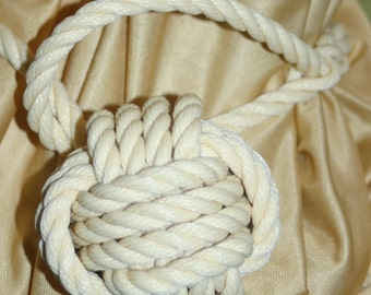 """Rope Curtain Tie Back Hand Knotted You Choose Sizing 14"""" -21"""" Wrap Around Curtain Tieback"""