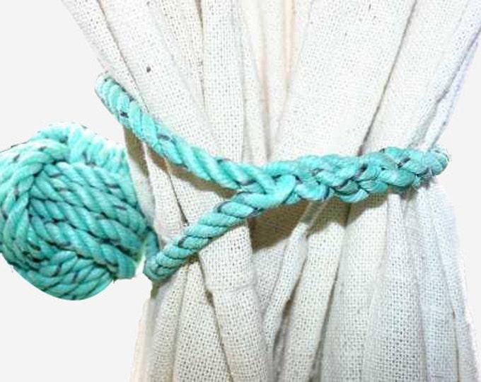 2 Green Rope Tie Backs Curtain Nautical Decor Beach House Monkey First Knot