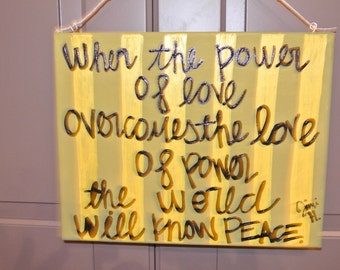 """Custom Created Canvas - Jimi Hendrix Quote - """"When the power of love"""""""