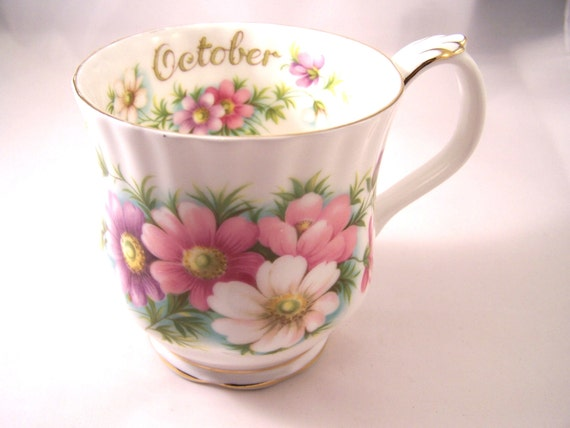"""Royal Albert  Flower of the month """"October"""" Coffee Cup"""