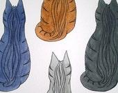"Four Cats No. 1, Original Watercolor Illustration, 9"" x 12"""