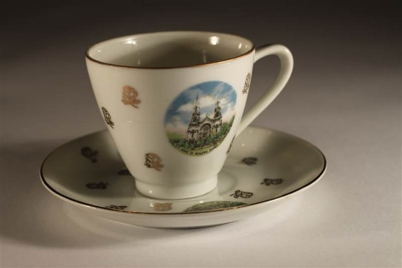 Vintage Cup and Saucer Featuring St. Anne De Beaupre Cathedral, Quebec Canada