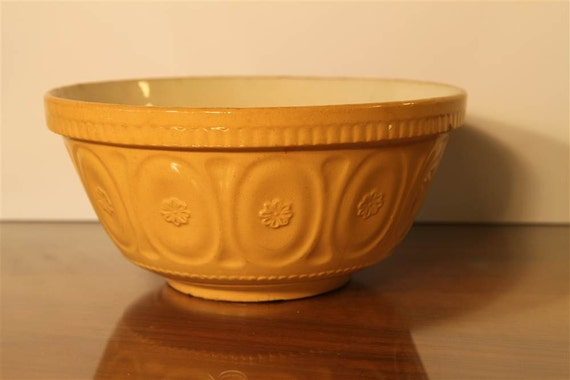 Antique Turn of the Century English Yelloware Kitchen Bowl with Floral and Dentil Pattern