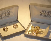 Nolan Miller Glamour College Rhinestone Brooch and Earrings Set