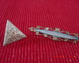 Antique Vintage Lapel/Collar Pins with Rhinestones Brooch
