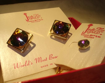 Judy Lee Aurora Boralis Rhinestone Cufflinks and Pin Set New In Box