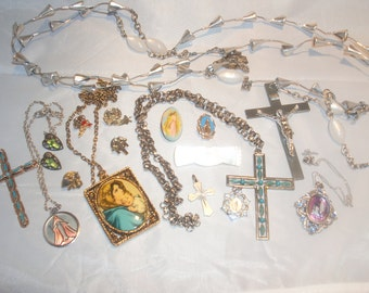 Religious Vintage Estate Costume Jewelry Lot