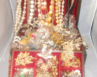 Treasure Chest of Vintage Estate Costume Jewelry Lot: Over 85 pieces- Rhinestones & More