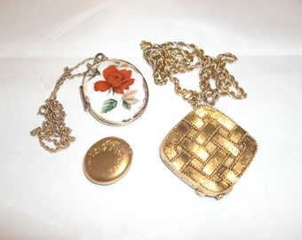 Vintage Estate Costume Jewelry Locket Set