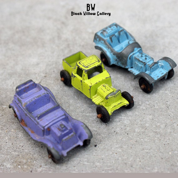 Three Tootsie Toy Cars LOT Diecast 1960s By BlackWillowGallery