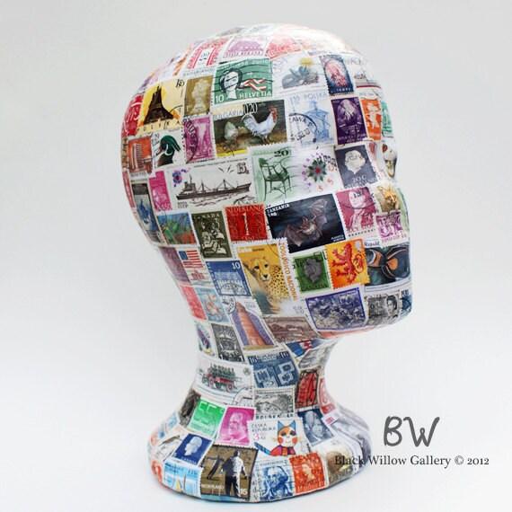 Travelers International postal stamps Mannequin Art Display Head Wig Hat