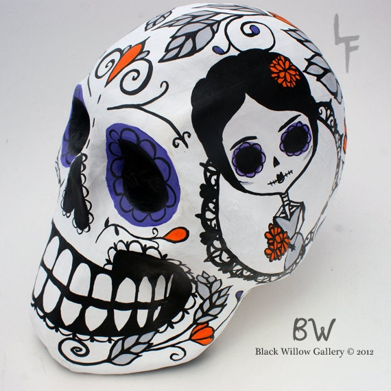 RESERVED for Felicia BLOOM Day of the Dead Paper Mache Sugar Skull Display
