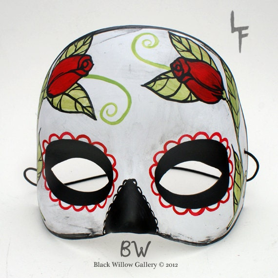 Vintage Black Red Roses Day of the Dead Mask sugar skull 2012 Collection