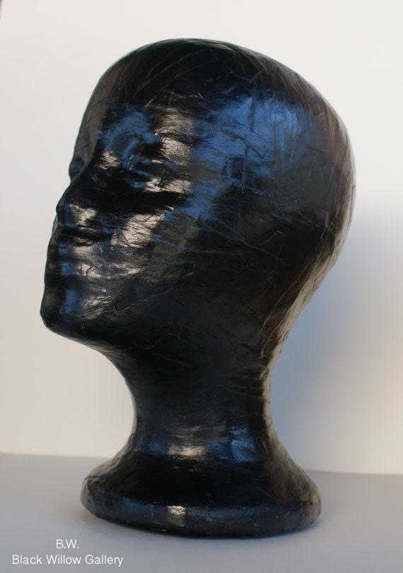 Black Mannequin Head Wig Hat  Display Vintage