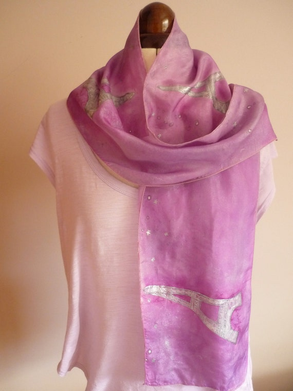 Handpainted Silk Scarf 'Midnight In Paris' In Mauve With Silver Featuring Eiffel Tower