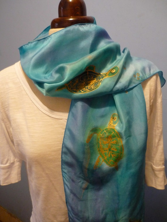 Handpainted Silk Scarf 'Turtles' By The Silk Maid Blues and Greens