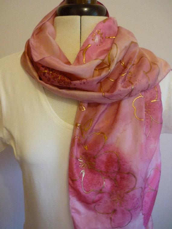 Handpainted Silk Scarf Original Cherry Blossom Design By The Silk Maid