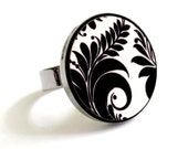 Baronyka Leaves Ring In Black And White - Statement Jewelry - Leaf Jewelry - Leaves Jewelry - Nature Jewelry