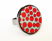 Baronyka Red And Turquoise Dots Ring - Geometric Jewelry - Dots Jewelry - Colorful Jewelry - Statement Jewelry